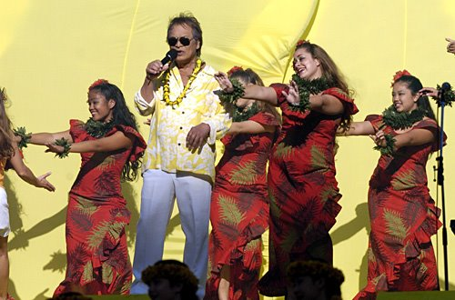 Don with hula dancers